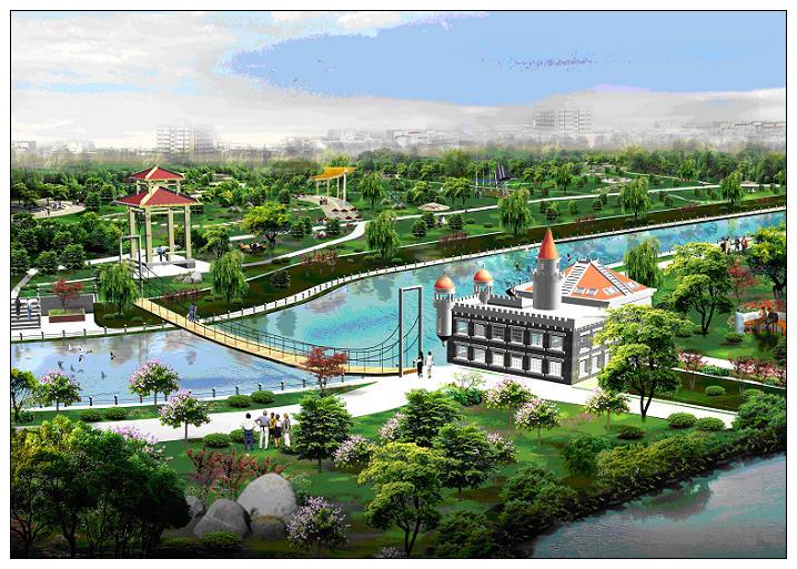 按照省委、省政府提出的三年大变样、三年上水平、三年出品位的原则,立足高站位、大手笔、大气魄,围绕建设秀美鹅城、清宜广平的目标,在充分分析广平县现有水系和城市规划的基础上,围绕环城水系建设,新建人工湖泊,修建引蓄水工程,打造环城水系沿线滨水景观。受广平县水利局委托,我院完成了本次广平县环城水系规划。 总体思路:在广平县环城水系原有规划的基础上,围绕两湖(东湖、西湖)、五河(东风渠、三干渠、南环河、西环河、北环河),从城市整体发展角度,并结合相应的城市功能,合理定位湖泊及湖滨景观功能,并据此